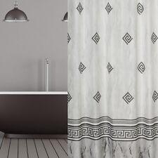 Rideau de douche en tissu gris blanc Ornement 180x200 incl. anneaux clair 180 x
