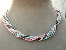water pearl Twisted Necklace Ladies Gift Pink blue grey Multi colour Real fresh