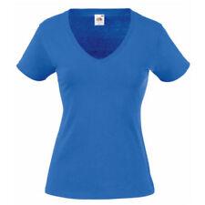 Felpe e tute da donna blu in cotone con scollo a v