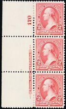 266, Mint VF/XF NH/H PL# & Imprint Strip of 3 GEM! - Stuart Katz