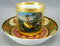 19th Century Royal Vienna Style Hand Painted Woman & Sheep Coffee Cup & Saucer