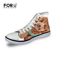 Women Shoes High Top Canvas Shoes Animal  Dogs Zapatos Mujer School Travel New