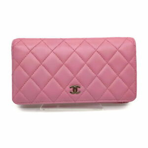 100% Authentic  Chanel Matelasse Pinks Leather Bifold Pink Wallet