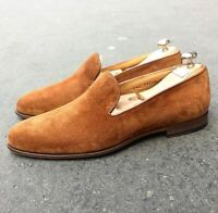 Handmade Men's Brown Suede Loafers Shoes