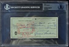 VINCE LOMBARDI  SIGNED CHECK BAS SLABBED AUTOGRAPHED 22