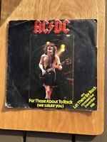 """AC/DC  For Those About To Rock (We Salute You) pict sleeve K11721 7"""" Vinyl"""