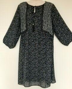 Ladies Vintage boho Style Dress black floral Print Size 20 3/4 Sleeve
