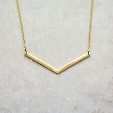 Stainless Steel Dainty Minimal V Layer Chevron Necklace, Brushed 24k Gold Plated