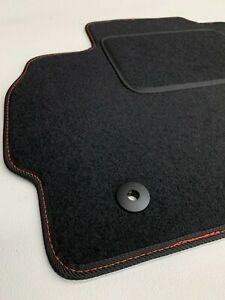 Fußmatten für Mazda 5 CR Premium Velours Automatten Bj05-10 Naht Rot Befestigung