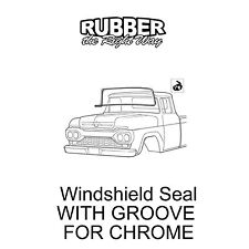 1957 1958 1959 1960 Ford Truck Windshield Seal - WITH GROOVE FOR CHROME