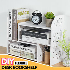 Expandable Desktop Bookshelf Bookcase Organizer Rack Office Storage Shelf