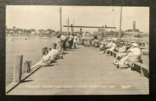 Mint Vintage Fishing from the Pier Cape Porpoise Maine Real Photo Postcard Rppc