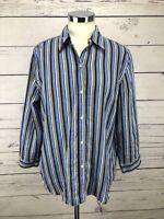 Lauren Ralph Lauren Women's Linen Shirt Top Size L Blue Striped 3/4 Sleeve