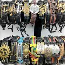 50pcs Lots Men's Vintage Leather Bracelet Jewelry New Mixed Style Men Best Gift
