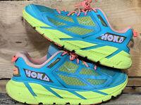 Hoka One One Clifton 1 Aqua/Neon/Green Running Athletic Shoes Women's Size 6.5