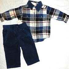 Gymboree Pants Navy Corduroy Plaid Flannel Shirt Winter Boy size 6-12 month New