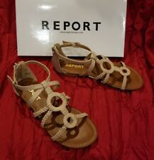 Report Gustava Taupe Tan F Leather Open Toe Strappy Low Heel Sandal Shoe 10 $45