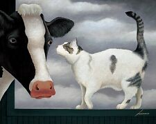 COW AND CAT PRINT BY LOWELL HERRERO whimsical farm barn animals poster cows
