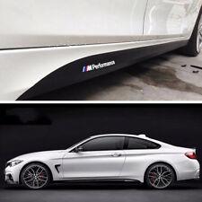 2Pcs Carbon Fiber Look Car Side Skirt Stripe M Performance Decal Sticker For BMW