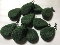 Green FLAT PEAR LEAD WEIGHTS SINKERS textured smooth Sea or Carp fishing tackle