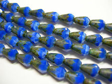 18 Czech Glass Sapphire Picasso Faceted Teardrop Beads 8x5mm