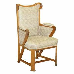 LIBERTY'S LONDON PEACOCK FABRIC UPHOLSTERED VICTORIAN CARVED WINGBACK ARMCHAIR