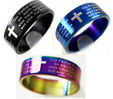 25 Color Mix English Lord's prayer Stainless Steel Jesus Rings Religious Jewelry