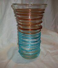 Large Art Glass Brown Turquoise Aqua Blue Twist Swirl Vase
