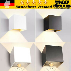 Cube Würfel LED Wand Leuchte Lampe mit Bewegungsmelder Up Down außen/innen IP65
