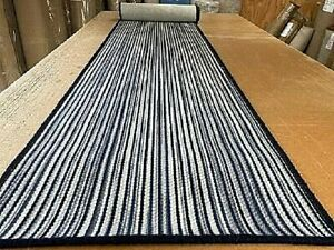 100% WOOL ECO FRIENDLY STRIPED LOOP PILE CARPET MAT HALL RUNNER 57cm x 300cm