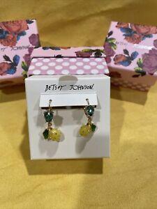 BRAND NEW WITH BOX Betsey Johnson  Lemon Dangle Charms EARRINGS