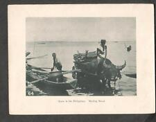 c 1900 photogravure- Scene In The Philippines- Hauling Wood/boat Ox cart  water