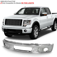 2009-2014 Ford F150 Pickup Chrome Steel Front Bumper Face Bar w/ Fog Light Hole