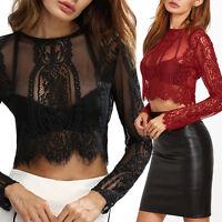 2017 Women Black Sexy Mesh Sheer See-through Long Sleeve Crop Top T Shirt Blouse