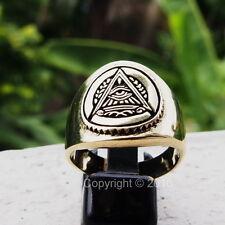 Freemason Masonic Mystic Eye Pyramid Great Seal Men's Power Ring