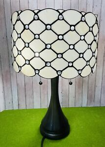 Vintage Tiffany Style Desk Lamp Stained Glass Shade with Base Chipped