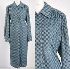 GEOMETRIC BLUE, WOOL BLEND 1980s VINTAGE MOD SHIFT DRESS 18