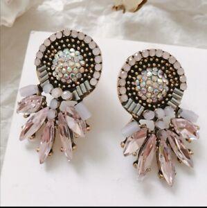 Light pink Rhinestone statement stud earrings