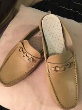 Womens TODS Tan Leather Mule SHOES Loafer 8 - 8 1/2 Made in Italy