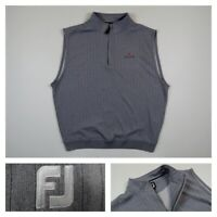 FootJoy Mens 1/4 Zip Golf Vest Gray Striped Sleeveless Pullover PGA Tour XL