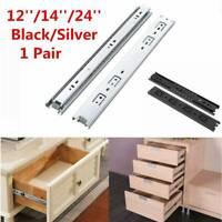 """1 Pair 12""""/14""""/24"""" Ball Bearing Drawer Slides Full Extension Rail Cabinet Runner"""