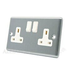 Brushed Satin Chrome Classical Socket 2 Gang 13A Double Plug Outlet CSC2GSOCWH