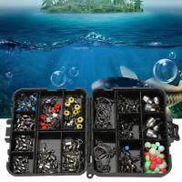 160pcs/kit Fishing Lures Hooks Baits Black Tackle Box Full Storage Case Tool Set