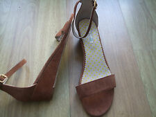 BODEN BROWN  SUEDE ANKLE STRAP WEDGE SANDALS   SIZE 41==7.5  BNWOB