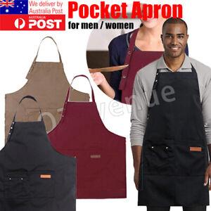 AU Denim Canvas Pocket Apron Adjustable Baking Chefs Kitchen Coffee Cooking BBQ