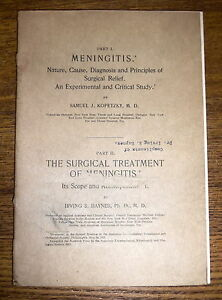 Antique Medical Publication - Meningitis -  Nature Cause Diagnosis Sam Kopetzky