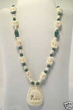 "JADE BEADS VTG CARVED ELEPHANT CHARMS  22"" NECKLACE, 2"" DROP PENDANT"