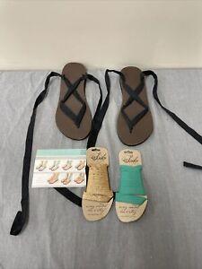 Sseko Brown Leather & Black Cotton Ankle Wrap Sandals Size 11 + Extra Laces FS