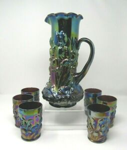 Wright Amethyst Purple Carnival glass Heavy Iris Water Set 6 Tumblers! Stunning!