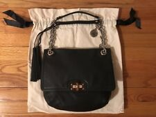 LANVIN Black Happy Bag Purse Leather Dust bag Barney's Tortoise Shell Clasp